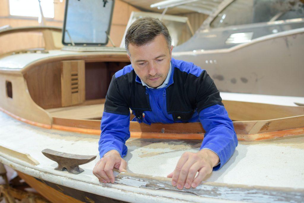 Boat maker at work